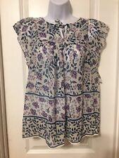 Gap Juniors Sheer Boho Babydoll Floral Short Sleeve Top Size XS