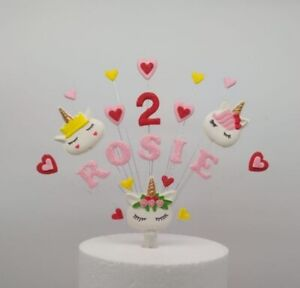 Unicorn birthday cake topper, personalised name and age, hand crafted