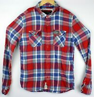 Superdry Mens Flannel XL Extra Large Button Front Shirt Long Sleeve Red Blue EUC