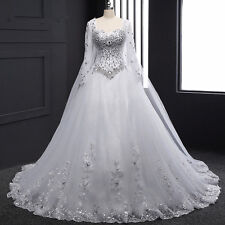Real Gorgeous Lace Wedding Dress with Full Crystals and Train Formal Bridal Gown
