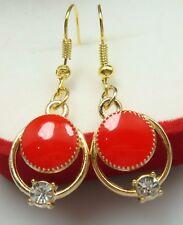 Simple Drop Elegant Women Earring 4bf 18K gilded Hook -2.1''charm Oil Painted cz