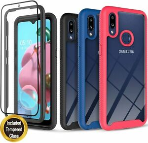 For Samsung Galaxy A10S/ A10E/ A20/ A20S Case,  Cover + Tempered Glass Protector