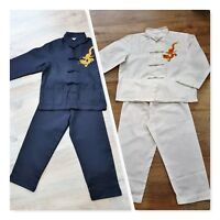Boy's 2 piece Chinese Clothes with Dragon Motive Age 2-14 years Fancy Kung Fu