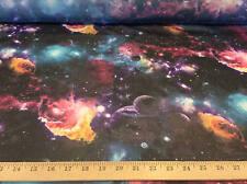 """Black Galaxy, Cosmos, Planets, Nebula  100% Polyester Chiffon Fabric 58""""W BTY"""