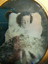 daguerreotype post-mortem Child ~ 1/6 Plate full leather case - split seam