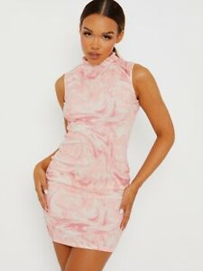 Women Ladies Marble Effect Ribbed Tie-Dye Dress High Neck New Fashion Party