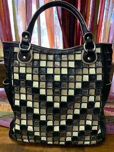 $495 - ISABELLA FIORE Black Metallic Tote / Handbag / Purse - SOFTEST LEATHER!!!
