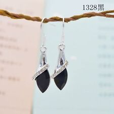 SHIP US-Style  White Gold Plated Swarovski Crystal Drop Dangle Earrings Hook