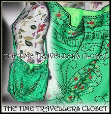 Vintage Green Drawstring 60s 70s Plastic Multi Candy Beaded Shoulder Bag Hippy