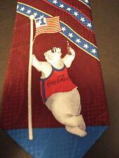 COCA-COLA POLYESTER NECKTIE WITH POLAR BEAR W/FLAG BOTTLE OF COKE (BURGANDY)