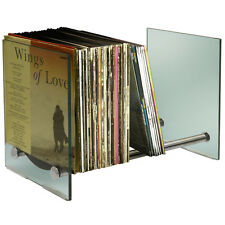 Contemporary Glass and Steel 170 LP Vinyl Record Storage - Silver MS4902LP