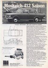 Moskvich 412 Saloon & 427 Estate Circa 1972-73 original del Reino Unido folleto de ventas