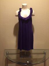 BORDEAUX LOS ANGELES Purple Ruffled Neckline Sleeveless Jersey DRESS Sz Large