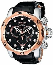 Invicta Men's Venom 1000m Rose Gold Plated Black Leather Band Watch 0360