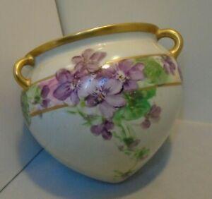 """Hanging Porcelain Pot Flower Pot Hand Painted Violets 4.5"""" Tall 4.75"""" Top Vintag"""