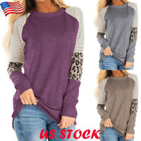 Women's Leopard Block Long Sleeve T-shirt Tops Casual Crew Neck Loose Blouse Tee