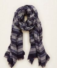 Aerie American Eagle AEO Striped Oblong Blanket Scarf Navy Blue Gray - NWT