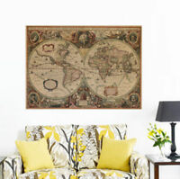 71x50cm Retro Vintage Globe Old World Map Matte Brown Paper Poster Home Decor