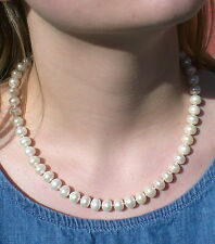 Classic South Sea Genuine Cultured White Pearl Strand Necklace Magnetic Clasp