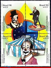 2673 BRAZIL 1998 TRIBUTE TO THE CIRCUS, CLOWNS, MI# 2822-25, SET MNH