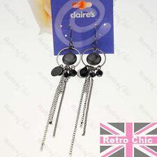 """4.5""""long SLINKY gunmetal BLACK EARRINGS chains BEAD hoops HOOP 12cm GOTHIC"""