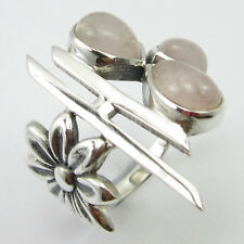 925 Solid Sterling Silver Genuine Rose Quartz 3 STONE Ring Size 6.75 5.9 Grams