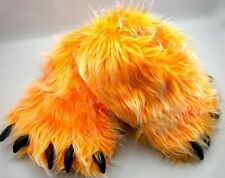 Monster Long Hair Orange woman Big Foot Bear Animal Plush Claw Paw Teen Slippers