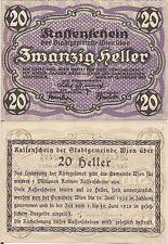 Austria P R60, 20 Heller, Regional note for Vienna, 1920, UNC