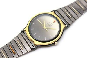 DUNHILL Quartz -Anodized Black Steel/GOLD & Ruby-34mm-From 80's(Alfred-Rollagas)