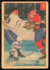 1954-55 PARKHURST HOCKEY #2 DICKIE MOORE VG-EX MONTREAL CANADIENS WITH STAT BACK