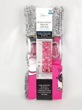 14 Pc. Bath Set Hooks & Shower Curtain Mainstays Cats White Pink Gray Rug New