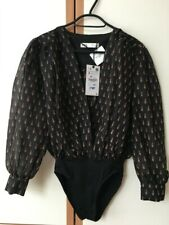 ZARA BLACK PRINTED BODYSUIT WITH PUFF SLEEVES SIZE S 8