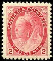Canada #77 mint XF OG HR 1899 Queen Victoria 2c carmine Numeral Die I CV$90.00