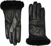UGG Classic Leather & Shearling Logo Womens Gloves Black Size Medium $110 - NWT