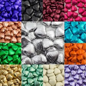 100 Heart Shaped Foiled Solid Milk Chocolate Hearts Weddings Parties -18 Colours