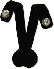 "3""H BLACK VELVET EARRING JEWELRY DISPLAY TOP STAND POST HOOKS CLIP EAR A1B1"