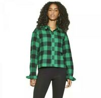 New Wild Fable Womans Long Sleeve Cropped Plaid Flannel Shirt Sz XXL NWT