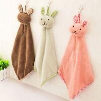 Lovely Rabbit Squares Towels Coral Fleece Kitchen Bathroom Hanging Hand Towels