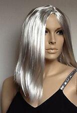Long Grey Straight Fantastic Party  Fancy Dress Wig. UK Dispatch