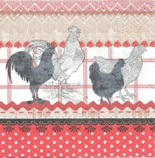 3 Serviettes en papier Cocktail Coq et Poule Paper Napkins The cry of rural Cock