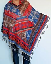 Warm Boho Wool Poncho Wrap Hoodie Jacket Hippie Kaftan Fleece Festival One Size