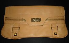 OLIVIA + JOY Clutch Purse Womens Handbag Camel Vinyl Faux Leather Gold Evening