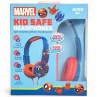 Marvel Spider Man Kid Safe Headphones Volume Limiting Adjustable Over Ear NEW!