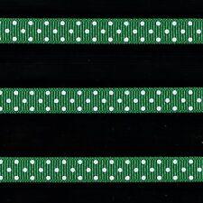"5 yards 3/8"" Emerald Green Swiss Polka Dot Grosgrain Ribbon"