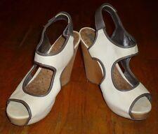 "SAM EDELMAN~""Kendall""~Gray & Cream Leather Platform Wedge Peep Toe Heels Size10M"
