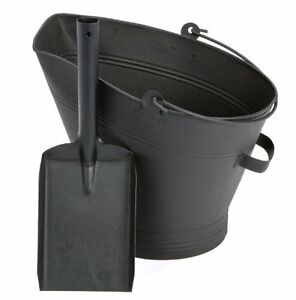 TRADITIONAL BLACK CAST IRON WATERLOO STYLE FIRE COAL BUCKET SHOVEL FIRPLACE LOGS
