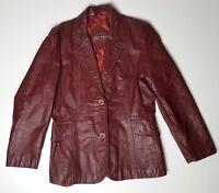 Vintage Ladies Amber Red Brown Original Le Soleil Leather Jacket Coat