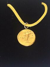 "Aureus Of Domitian Coin WC28 Gold Made From Pewter On 18"" Yellow Cord Necklace"