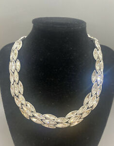 Stunning bling bling silver tone clear signed swarovski crystal runway necklace
