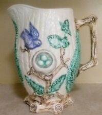"""Antique Majolica Pitcher Birds with Nest Full of Eggs 9"""" x 8"""""""